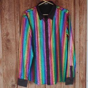 Super shiney rainbow rodeo shirt